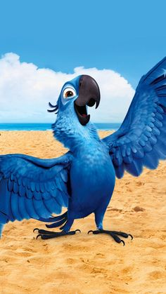 Blu Bird in Rio Wallpapers) Cute Disney Wallpaper, Cute Cartoon Wallpapers, Wallpaper Iphone Cute, Parrot Cartoon, Parrot Image, Rio Movie, Parrot Wallpaper, Cartoon Caracters, Pinturas Disney