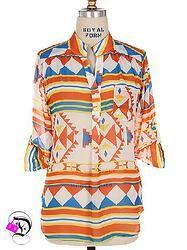 Orange/Blue/Yellow Aztec 3/4 Sleeve Top $35.99