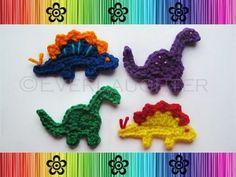 Dinosaur crochet appliques by marblauinfinit