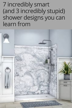 7 incredibly smart (and 3 incredibly stupid) shower designs you can learn from It's a good idea to learn from smart (and not so smart) shower designs. This article provides 10 examples to lead you to a improved shower remodel. Cheap Bathroom Remodel, Bath Remodel, Bathroom Renovations, Restroom Remodel, Tub To Shower Remodel, Kitchen Remodel, Handicap Bathroom, Master Bathroom, Wet Room Bathroom
