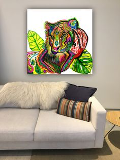 Tiger Spirit Animal Abstract Art Picture Gallery Wrapped Canvas Print Colorful Wall Hanging Bohemian Home Decor Gypsy Tropical Jungle Art - Art Painting Canvas Frame, Canvas Art, Canvas Prints, Unique Paintings, Original Paintings, Tiger Spirit Animal, Images D'art, Jungle Art, Animal Spirit Guides