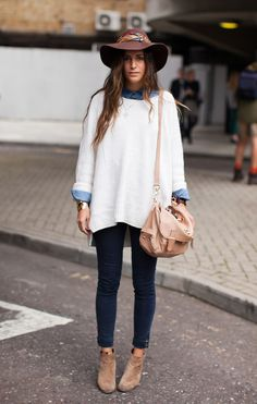 Denim button-up shirt, oversized white sweater, black skinny ankle jeans, beige ankle boots