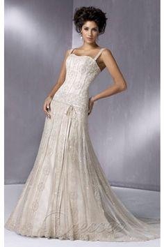 Fantastic Ivory Slim Line Spaghetti Straps Corset Closure Floor-length Wedding Dress Sweep Train With Beads 00277