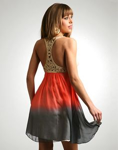 Lipsy Dip Dye Silk Beaded Racer Back Dress at ASOS