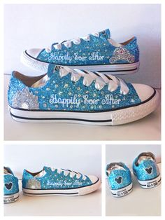Womens Sparkly Glitter Bling Converse All Stars Baby Blue Cinderella  wedding bride shoes 238df8e602f9