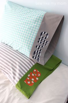 Sew Like My Mom | Personalized Applique Pillowcase TUTORIAL #iloverileyblake #FabricIsMyFun