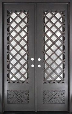 Iron Doors Unlimited 62 in. Luce Lattice Classic Lite Painted Oil Rubbed Bronze Wrought Iron Prehung Front - The Home Depot Steel Gate Design, Door Gate Design, Front Door Design, Door Grill, Window Grill Design, Iron Front Door, Double Front Doors, Billard Bar, Wrought Iron Doors
