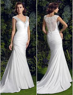 Wedding Dress Trumpet Mermaid Court Train Charmeuse V Neck With Crystal Detailing and Beading Appliques
