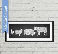 beef chicken lamb pork Butcher Diagram chalkboard Printable, Kitchen Print, Butcher Chart, Kitchen Art Diagram, Butcher Prints, Cuts of Meat