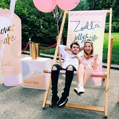 """There is an exclusive first look at my new @zoellabeauty range """"JELLY & GELATO"""" down in the Brighton pavilion today with FREE ice cream (which we all got to serve which was SO MUCH FUN) I can't wait to share more info on the products tomorrow for launch day! (some of which are new formulations which we've never done before) If you fancy seeing the products before they are released tomorrow & want a free ice cream, head down there before it's all gone"""