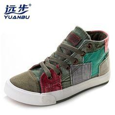 28d389605d Women Casual Shoes Canvas Shoes Colorant High Lacing Flat Bottom Vintage  Denim Shoes