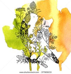 Background with birds and flowers, stylized illustration. Vector