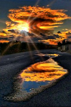 Curious clouds at afternoon. by Joe J. Santos yellow clouds reflected in a puddle Nature Pictures, Cool Pictures, Beautiful Pictures, Pics Of Nature, Beautiful Sunset, Beautiful World, Landscape Photography, Nature Photography, Free Photography