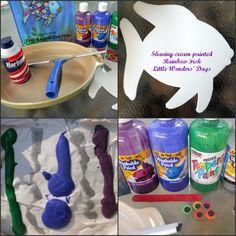 Little Wonders' Days: Shaving Cream Painted Rainbow Fish Preschool Crafts, Crafts For Kids, Shaving Cream Painting, Washable Paint, Rainbow Fish, Family Traditions, Spray Bottle, Pet Birds, Cute Babies