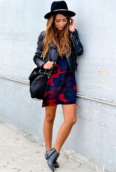 Dress, leather jacket, ankle boots, hat