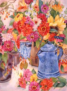 Grandma's Coffeepot by Jan Ford ~ floral