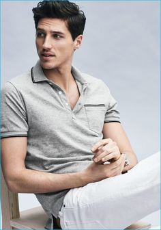 Ryan Kennedy goes retro in J.Crew's tipped polo shirt that channels 1950s and 60s style.