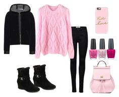 """""""Pink and Black"""" by tlb0318 ❤ liked on Polyvore featuring WithChic, Anne Klein, Dolce&Gabbana, Casetify, T By Alexander Wang and OPI"""