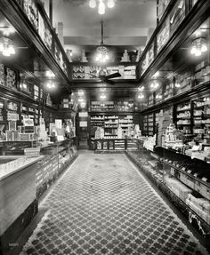 """1913. No location given. """"G.W. Armstrong drugstore."""" Seidlitz Powders only 25 cents. 8x10 glass negative, Detroit Publishing Company. View full size,click through to supersize and see in masses of detail including prices and brands popular then."""