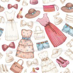 Рисунки карандашом платья и аксессуары. бесшовный фон — стоковое изображение #41335167