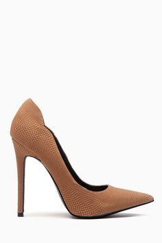 Tan Faux Nubuck Pointed Toe Scalloped Classic Pumps @ Cicihot Heel Shoes online store sales:Stiletto Heel Shoes,High Heel Pumps,Womens High Heel Shoes,Prom Shoes,Summer Shoes,Spring Shoes,Spool Heel,Womens Dress Shoes