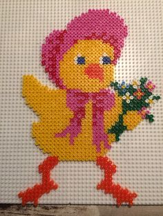 Easter chick girl hama perler beads by Julie Loose
