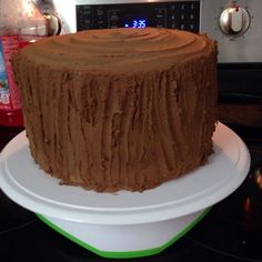 Tree stump cake - easy to make with thickened chocolate buttercream. Doesn't have to be dried chocolate bark pieces. Easier to slice and eat with just buttercream! Elegant Birthday Cakes, Cupcakes, Cupcake Cakes, Woodland Theme Cake, Woodland Party, Squirrel Cake, Tree Stump Cake, Log Cake, Tree Cakes