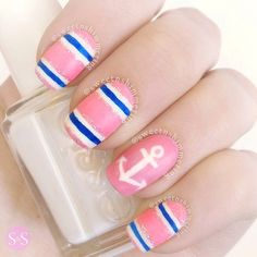 pink and blue nautical nail art Instagram photo by @sweetnshimmering via ink361.com