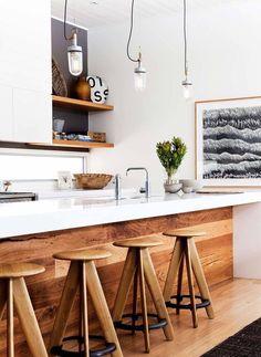 Modern kitchen with wood \ Kitchen Interior Design \ Home Decor New Kitchen, Kitchen Dining, Timber Kitchen, Kitchen White, Earthy Kitchen, Kitchen Ideas, Kitchen Bars, Space Kitchen, Kitchen Modern