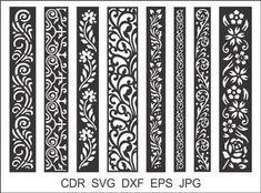 8 Border Cutting File For Laser Cnc & Plasma Cricut Floral image 6 Wood Panel Walls, Panel Wall Art, Wood Wall, Decorative Metal Screen, Jaali Design, Cnc Cutting Design, Laser Cut Stencils, Border Embroidery, Cnc Plasma