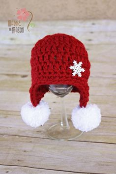 Etsy crochet hat -- cute with snow balls -- I will try to replicate. Red Snowflake Earflap Beanie with Pom Poms - Newborn Crochet Baby Hats, Crochet Beanie, Cute Crochet, Crochet For Kids, Crochet Crafts, Yarn Crafts, Knit Crochet, Crocheted Hats, Crochet Winter