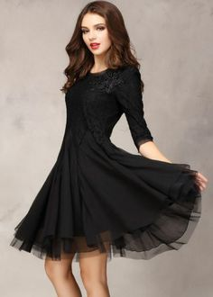 Black Half Sleeve Lace Bead Chiffon Dress. That cute little black dress you can always rely on.