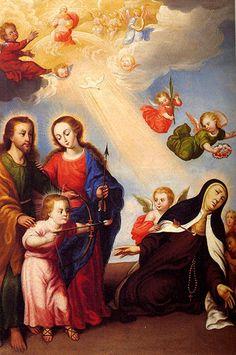 (Camerin alto) Santa Teresa y la Sagrada Familia Simón Petti - Monasterio de la Anunciación Carmelitas Descalzas http://www.carmelitasalba.org/iconografia-teresiana-buscar-por-autor/ ST. TERESA OF JESUS THE TRANSVERBERATION Chapter 29 https://www.ewtn.com/library/MARY/AUTOTERE.HTM