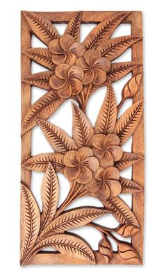 Hand Carved Floral Relief Panel, 'Sweet Frangipani Flowers' - Mohua Chakraborty Hand Carved Floral R Wood Carving Designs, Wood Carving Patterns, Wood Carving Art, Dremel Wood Carving, Wooden Art, Wood Wall Art, Chip Carving, D House, Wood Sculpture