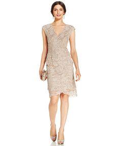 Jessica Howard Cap-Sleeve Tiered Lace Sheath | macys.com