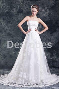 Robe de mariée élégante sans bretelles en dentelle/satin dos zippé