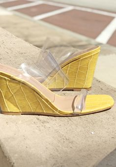 a25dd0ca489 Maryam Nassir Zadeh high wedges with two clear perspex bands. Wide feet