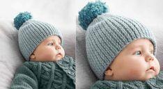 Tricotez un bonnet à pompon bien chaud pour votre bébé. Ce modèle est réalisé en côtes 1/1, puis resserré par un fil de fronces. Un pompon termine le haut. Tailles: a) naissance – b) 3 ...