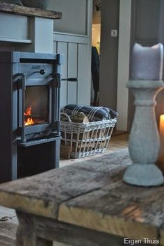 Woodstove Mantle Piece, Rustic Room, Getting Cozy, Warm And Cozy, Living Spaces, Living Rooms, Country Decor, Decoration, Beautiful Homes