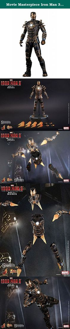 """Movie Masterpiece Iron Man 3 Iron Man Mark 41 ( Bones ) 1/6 scale plastic -painted action figure. """"Gentlemen!"""" and with that said, the Skeleton Suit Mark XLI split into multiple parts to attack Extremis soldiers during Tony Stark's showdown with Aldrich Killian!Nicknamed 'Bones', this armor is built by Tony Stark with speed and maneuverability in mind. It earns its name because of the very unique external appearance of thin black and gold colored armor plating with internal contents…"""