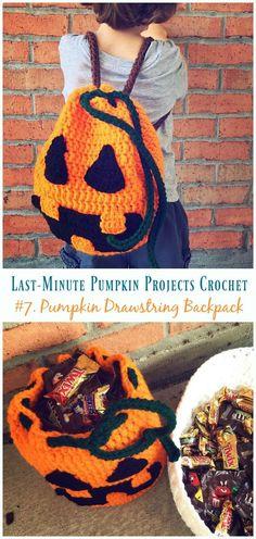 Crochet Patterns Fall Pumpkin Drawstring Backpack Crochet Free Pattern – Last-Minute Proje… Crochet Pumpkin, Crochet Fall, Crochet Cross, Diy Crochet, Crochet Ideas, Halloween Bags, Halloween Party, Crochet Backpack, Drawstring Backpack