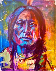 Sitting Bull Native American Portrait Giclee by AlejandroFineArt