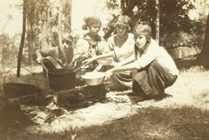 "This photo from nearly a century ago shows early Camp Fire Girls cooking a meal at a campsite near Ames. Walter Grove later donated a portion of his land a few miles north of town for a permanent camping facility. To honor Grove, the site was given the name Camp Canwita, ""small grove on top of hill."" To learn more about this photo, visit AmesHistoricalSociety.org"