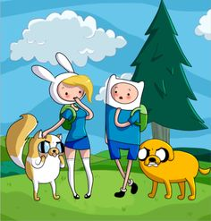 Image - Fionna-Cake-and-Finn-Jake-meet-adventure-time-with-finn . Fiona Adventure Time, Adventure Time Anime, Finn Jake, Adveture Time, Prince Gumball, Finn The Human, Jake The Dogs, What Time Is, Bubbline