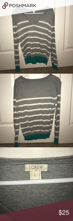 J crew striped sweater with teal accent *BUY A BUNDLE OF ANY TWO SWEATERS AND GET 20% OFF* Lighter sweater, lightly worn, good condition. J crew size large, perfect for fall weather J. Crew Sweaters