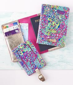 Say Bon Voyage Lilly Pulitzer style with a coordinated passport cover and luggage tag. The inside of the passport cover contains card slots and the luggage tag contains a cover for your personal information.