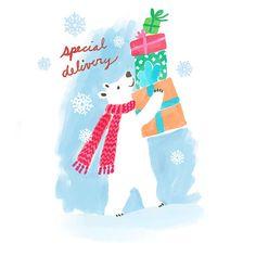A polar bear brings an armful of Christmas gifts.