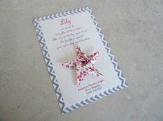 10 Faire parts de naissance - baptême - carte de remerciement étoile en origami pour fille fleurs - liberty - chevron - fait main