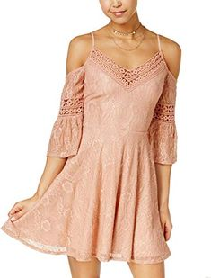 Enjoy exclusive for City Studios Juniors' Lace Cold-Shoulder Dress online - Liketopbrands Dress Outfits, Casual Dresses, Girl Outfits, Fashion Dresses, Junior Bridesmaid Dresses, Junior Dresses, Bug Clothing, Western Wear Dresses, Pink Dress