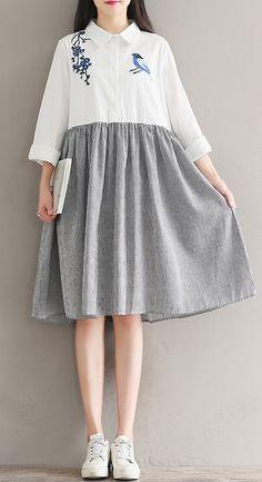 Women loose fit plus size retro flower bird dress skater tunic fashion sweet #unbranded